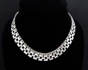Vintage Rhinestone Necklace, Rhinestone Collar, Vintage Wedding Jewelry, Vintage Bride, Party Prom, Rhinestone Choker, Rhinestone Wedding