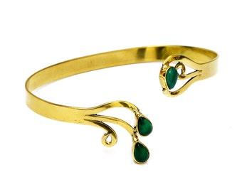 Green Quartz Bracelet, Brass Bracelet, Boho Bracelet, Brass Cuff, Gemstone Bracelet, Brass Bangle, Stone Bracelet, Gypsy Gold Bracelet,