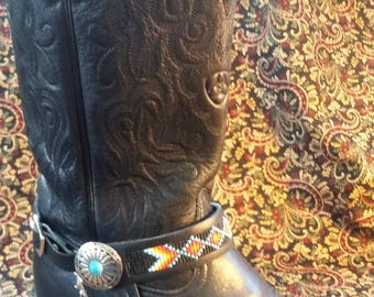 Native American Hand-Loomed Beaded Bootstrap / Bracelet / Anklet with Turquoise Detail Concho and Leather Fringe!