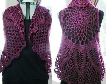 Crochet Circle Vest, Bohemian Vest, Pineapple Vest, Crochet Vest, Motif, many colors