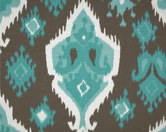 "Designer fabric shower curtain, ikat spirit brown, aqua, white, cotton 72"" x 72"", 72 x 84, 72 x 90, 108"