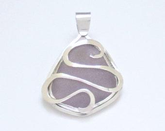 Sea Glass Jewelry - Sterling Large Dark Purple Sea Glass Pendant