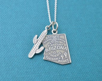 Arizona pendant in sterling silver with sterling silver cactus on stainless steel chain.  Arizona necklace. Arizona Charm. Arizona jewelry.