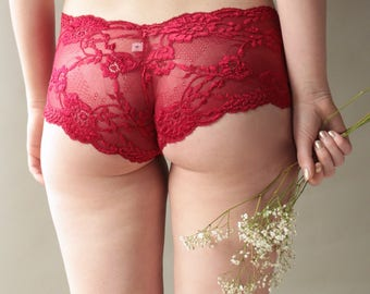 Panties, French Knickers, Knickers, Lingerie, Lace Underwear, Lace Lingerie, Sexy Lingerie, Gift for Her, Lace Panties, Underwear, Red