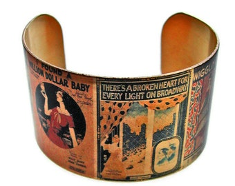Flapper Piano Sheet Music cuff bracelet brass adjstable Gifts for her
