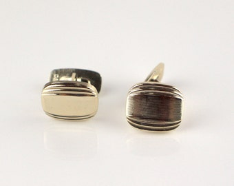 Gold Tone Rectangular Engine Cut Etched Surface Mens Cufflinks with Flip Back Cuff Links