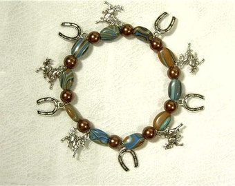"Cynthia Lynn ""WILD HORSES"" Blue Brown Multicolor Turquoise Equestrian Stretch Bracelet 7.5"""
