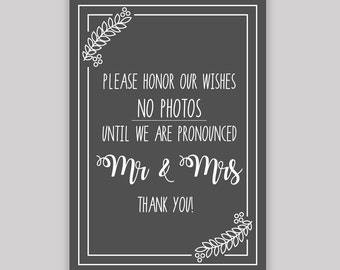 No Photos - Printable Wedding Sign