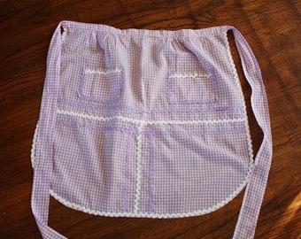 Vintage Half Apron Gingham Check Lavender Mauve