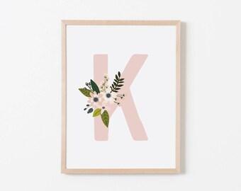 Gray Sprigs K Nursery Art. Nursery Wall Art. Nursery Prints. Nursery Decor. Girl Wall Art. Personalized Wall Art. Monogram Art. Floral Art.