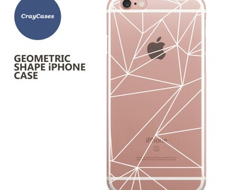 geometric iphone 7 case, clear iphone 7 plus case, white abstract iPhone 6 Case also available for 6 Plus & 6s Plus (Shipped From UK)