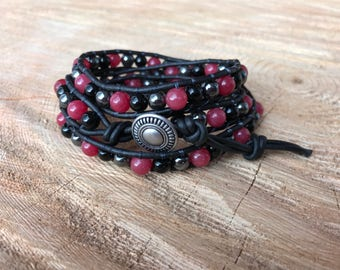 Sale!!Red Jade-Charcoal-Black-Multicolor Beaded Leather 3 Wrap Bracelet
