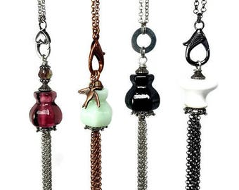 Repurposed Glass, Long TASSEL Necklaces, Long Necklace With Tassel: Mint, Black or White, Fun and Funky, Reclaimed Repurposed Jewelry