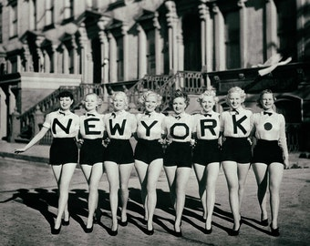 New York NY vintage photo chorus line dancers beauty queens women ladies legs antique photograph 1930s-PRINT, poster
