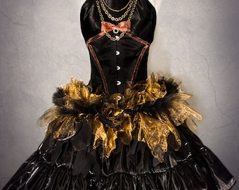 STEAMPUNK costume prom dress, with black underbust corset, black satin top, crinoline organza skirt, decorated with bronze chains.
