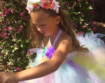 Pink Yellow Lavender Mint Green Flower Girl Dress, Multicolor Flower Girl Dress, Tulle Dress, Dress, Wedding, Tutu Dress