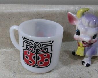 Vintage Ladybug Milk Glass Coffee Mug Red And Black