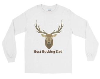 Buck, Deer, Best Bucking Dad, Antlers, Long Sleeve T-Shirt
