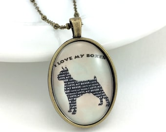 I Love My Boxer Silhouette Necklace, Black Boxer Necklace, Glass Dog Pendant, Black Pet Jewelry, Black Canine, Pet Gift, Choose Your Color