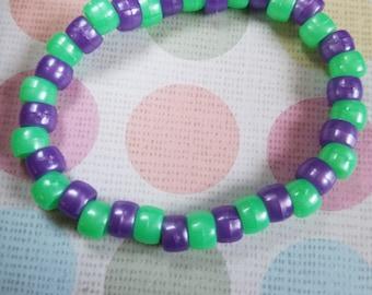 Handmade Green and purple candy bracelet