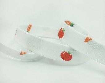 Bias Tape -  1/2 in Double Fold Bias Tape - 12mm - Vegetable Bias Tape - Little Nibbles - Michael Miller Bunny Garden