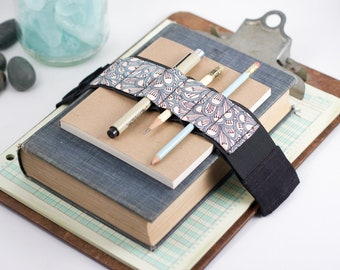 Adjustable Bandolier // petals // (a better pencil case, journal pen holder, book strap, pen loop, pencil roll, pen bandolier)