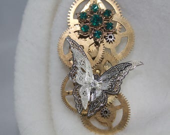 Steampunk butterfly brooch with antique gears and vintge jewelry