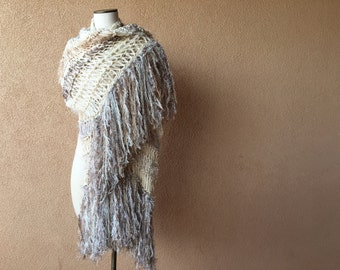 Extra Long Scarf Fringe Knit Accessories. Wide Scarf Hand Knit Scarf Extra Length Ivory Cream, Taupe, Beige, Grey Shawl Shoulder Wrap