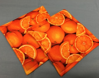 Orange Print Potholders set of 2