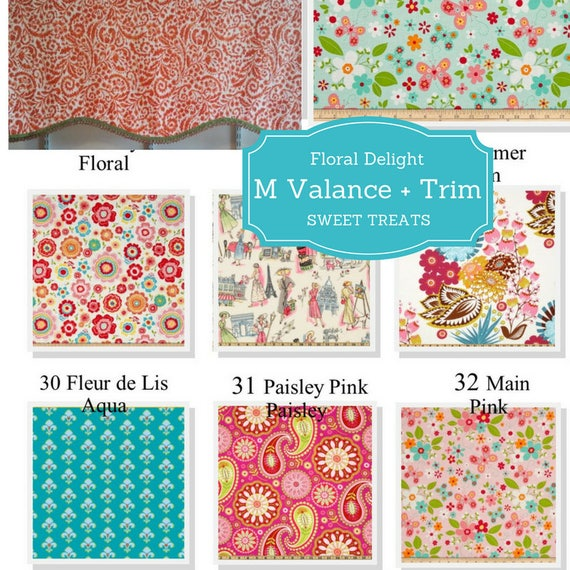 Custom Valance Shaped M with Trim - Floral Delight / Modern Floral Valance, Boho  Valance, Colorful Tropical Kitchen Valance,  Kids Curtain