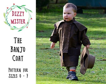 Childrens coat sewing pattern, kids coat PDF pattern, boys jacket digital download, kids costume pattern DIY