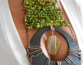 Hand made green aventurine,amber necklace wrapped with copper
