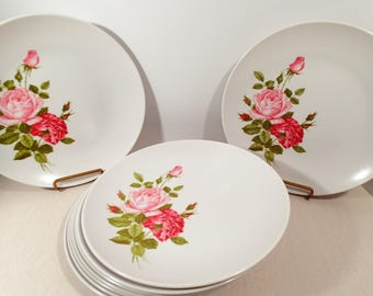 Pink Rose Vintage Melmac, Grant Crest dinner plates, set of 9 Pink roses on white. Camper, picnic everyday dishes