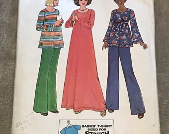 Simplicity 1970s Maternity Sewing Pattern / Vintage Misses Dress or Top & Pants and Babies T-Shirt / Size 12, Bust 34 / 7773