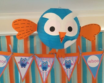 Hoot Lantern Birthday Party Decoration. By My Tulip, Handmade Scrapbooking Party Supplies.
