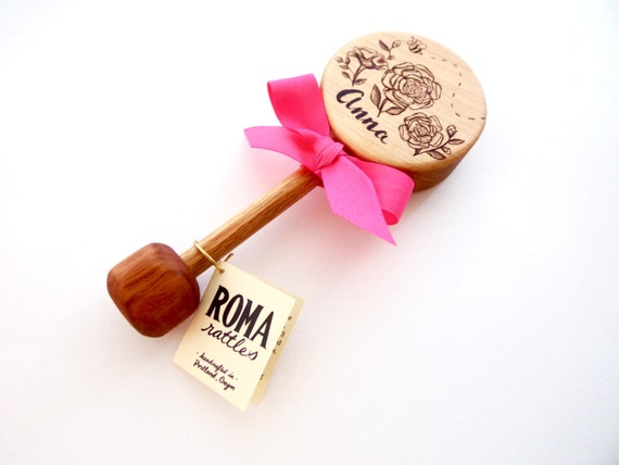 Personalized baby gift custom rose wooden baby rattle like this item negle Gallery
