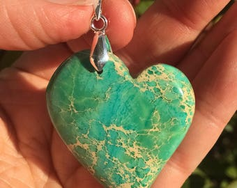 Sea Sediment Jasper Heart Pendant, Heart Necklace, Heart Pendant, Love
