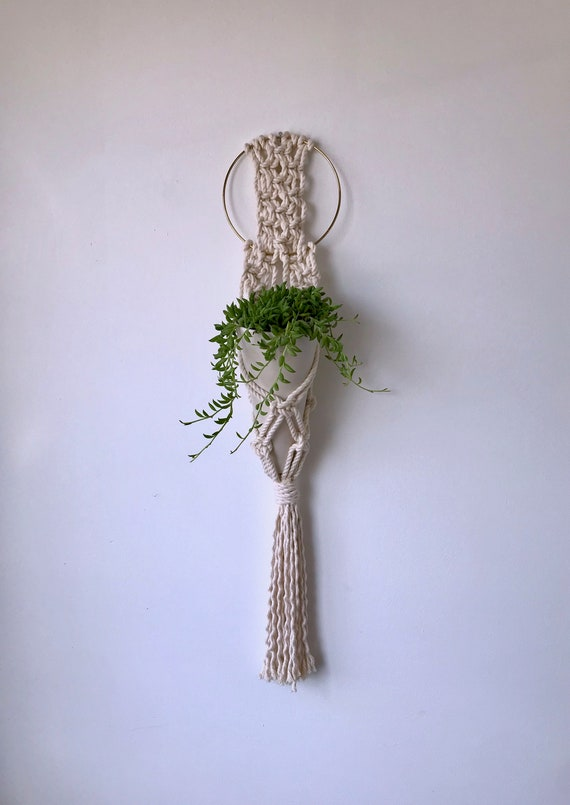 Mila Hanging Macrame Wall Planter, Includes both Porcelain Ceramic Cone Planter and Macrame Cotton Hanger