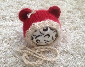 Newborn Knit Round Back Christmas Bear Bonnet, Photo prop, gift idea, boy, girl, hat,