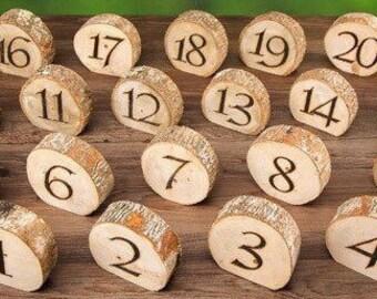 Rustic Wood Table Numbers - Wedding Reception - Bride Groom