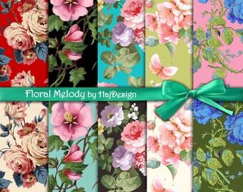 "Floral digital paper : ""FLORAL MELODY"" vintage flowers, digital clip art papers, floral patterns,  floral background, decoupage paper"
