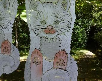 "Cute French Cats. Colour Little Single Net Curtains  8 1/2"" x 16"" long  22 x 41 cm"