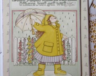Handmade friendship card, cute greeting card, Spring rain card