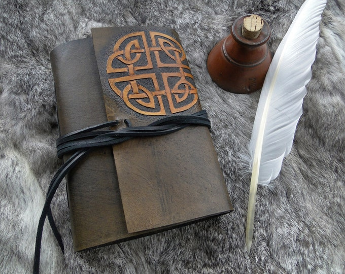 Celtic Knot Leather Journal - Shield Knot, Tooled Two Tone - Drawing Paper Parchment Colored, 230 Pages