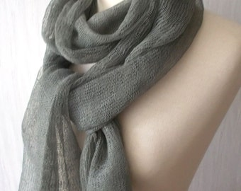 Linen Scarf Knit Shawl  Natural Summer Wrap in Khaki Grey Women