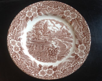 Set of 4 vintage Broadhurst The Constable Series brown ironstone bread-and-butter, dessert or side plates.