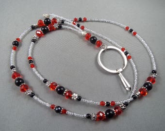 "Beaded breakaway lanyard red and black glass pearls and crystals 32"" to 44"" ID badge holder with magnetic or toggle clasp  ,unique fashion"