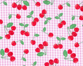 Cherries on Pink Gingham Cotton Fabric by the yard and by the half yard