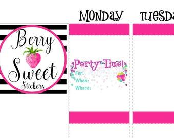 Party Planner Stickers, Birthday Party Planner Stickers, used with Erin Condren Planner Stickers, Happy Planner, Plum Paper, Kikki K