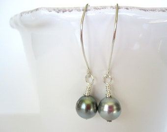 Tahitian Pearl Earrings, Tahitian Pearl Dangle Earrings, Pearl Sterling Silver Earrings, Pearl Drop Earrings Silver,South Sea Pearl Earrings